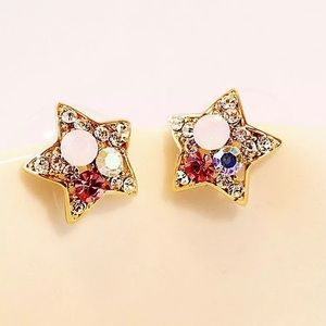 Multiple color star stud earrings